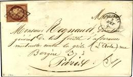 Grille / N° 6 Carmin Foncé, Superbe Nuance Càd T 15 BOURGES (17) Sur Lettre 3 Ports Pour Paris. 1850. - TB / SUP. - R. - 1849-1850 Ceres