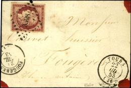 PC 3398 / N° 6 Superbe Nuance Proche Du Cerise Et Très Belles Marges Càd T 15 TOURS (36) Sur étiquette De Papiers D'affa - 1849-1850 Cérès