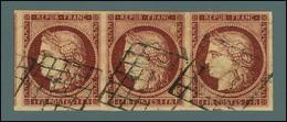 Grille / N° 6 Bande De 3 Très Belles Marges. - SUP. - R. - 1849-1850 Ceres
