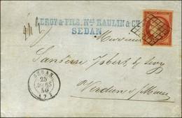 Grille / N° 7 Nuance Vermillon Vif Càd SEDAN (7). 1850. - SUP. - RRR. - 1849-1850 Ceres