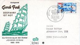 """BRD Schmuck-FDC """"100. Geburtstag Von Johann Kinau, Pseudonym Gorch Fock"""" Mi.1058  ESSt BONN 1, 14.8.1980 - BRD"""