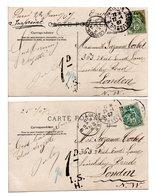 FRANCE - TAMPONS DE TAXE ANGLAISE / 2 CPA COUPLE - 1877-1920: Periodo Semi Moderno