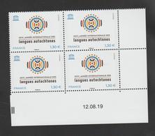 FRANCE / 2019 / Y&T SERVICE N° 176 ** : UNESCO (Année Internationale Des Langues Autochtones) X 4 - Coin Daté - Dienstzegels