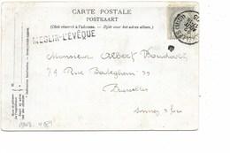 LE 0376. N° 53 BRUXELLES (MIDI) 22 AOÛT 05 + GRIFFE MESLIN L' EVÊQUE S/CP V. Bruxelles. TB - Marcofilia