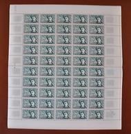 Feuille Complète De 50 Timbres FRANCE 1951 N°910  (POÈTES SYMBOLISTES. RIMBAUD. 15F) - Feuilles Complètes
