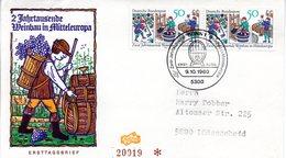 """BRD Schmuck-FDC """"Zwei Jahrzehnte Weinbau In Mitteleuropa"""" 2x Mi.1063  ESSt BONN 1, 9.10.1980 - [7] Federal Republic"""