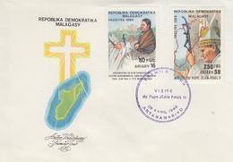 Enveloppe  FDC  1er  Jour   MADAGASCAR    Visite  Du  PAPE   JEAN  PAUL  II  1989 - Papas