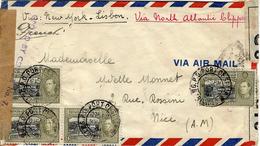 """1941- Enveloppe De Port Of Spain """" Via New York Lisbon Affr. à 96 C. -censures Brittanique Et Française - Trinité & Tobago (1962-...)"""