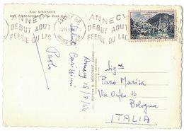 NN91   Annecy Début Aout Féérie Du Lac 18/08/1954 Annecy Sur CP - Storia Postale