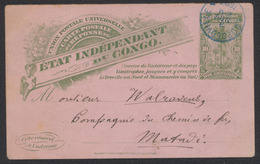 """EP (réponse) Au Type 10ctm Vert """"Palmier"""" Expédié De Léopoldville (1897) Vers Matadi / Service Intérieur. Texte Au Verso - Ganzsachen"""