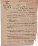 WW2 - Etat Français. Préfecture De L'Orne. Aux Maires Du Département. Délivrance D'une Carte De Travail. 22/05/1943 - Historische Documenten