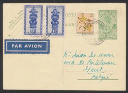 EP Au Type 1,2F Vert + Affranch. 2F30ctm Expédié Par Avion De Léopoldville (1955) Vers Gent. - Ganzsachen