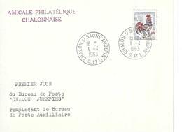 CHALON Sur SAÔNE - Lettre Premier Jour Du Bureau DeCHALON AUBEPIN 1/4/63 - Marcophilie (Lettres)