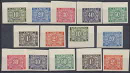 Essai - Taxe (Congo : Série De 7 TP Non Dentelé + Surcharge SPECIMEN (10, 20,30, 40 Et 50ctm + 1 Et 2F) X2, Type TX73/77 - Belgisch-Kongo