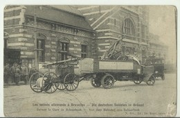 CP.Bruxelles-Schaerbeek (ex-Collection DELOOSE) - Les Soldats Allemands à Bruxelles - Devant La Gare De Schaerbeek - W00 - Schaerbeek - Schaarbeek