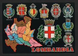 -carte Géographique -Italie - LOMBARDIA -écussons Des Villes Cremona,Como,Bergamo,Varese,Pavia,Brescia,Sondrio,Mi - Cartes Géographiques