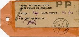 !!! PRIX FIXE : INDOCHINE, ETIQUETTE DE COLIS. BPM 405, AVEC ÉTIQUETTE D'AFFRANCH EN NUMÉRAIRE (1946) - Indochina (1889-1945)