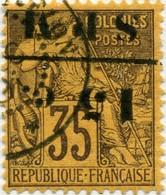 !!! PRIX FIXE : ST PIERRE & MIQUELON, N°13a SURCHARGE RENVERSÉE OBLITÉRÉ. SIGNÉ CALVES - Used Stamps