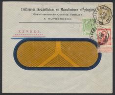 """Affranch. Tricolore Mixte Sur Lettre Expres Obl Télégraphique """"Bruxelles (Midi)"""" Vers Voir Fenêtre / Manufacture D'éping - 1905 Breiter Bart"""