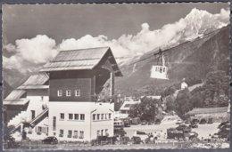 """74   LES HOUCHES   Hte-Savoie  """" Le Départ Du Téléphérique De Bellevue """"  CPSM  Non écrite  Num 15606 Avec VOITURES... - Les Houches"""