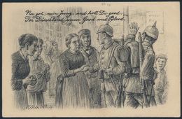 Ansichtskarte Feldpost Cöln-Longerich Nach Stralsund 1917 Abschiedszene - Militaria