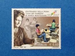 2007 ITALIA FRANCOBOLLO NUOVO STAMP NEW MNH** MONTESSORI VARIETA' 7 DI 1907 SPOSTATO IN ALTO - Variedades Y Curiosidades
