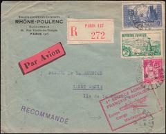 Erstflug Europa-Kongo-Madagaskar R-Brief PARIS 5.11.35 Nach St. Denis / Reunion - Timbres