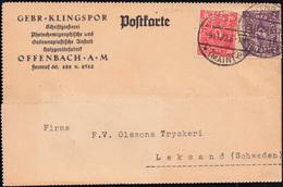 Firmenlochung GK Kopfstehend Auf 2+10 Mark Postkarte OFFENBACH/MAIN 9.11.22 - Allemagne