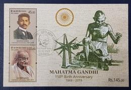 SRI LANKA 2019 - USED SHEET - 150 TH ANNIVERSARY MAHATMA GANDHI INDIA FAMOUS PEOPLE JOINT ISSUE - USED - Mahatma Gandhi