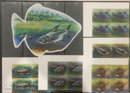 Blocks 4 Of Viet Nam Vietnam MNH Imperf Stamps & A Imperf Souvenir Sheet 2019 : Mekong River Fishes / Fish (Ms1112) - Vietnam