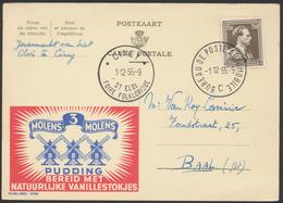 """Publibel N°1309 """"Molens 3 Pudding"""" Réaffranchi Par N°845 Obl Temporaire """"Bureau De Poste Automobile C"""" (1955) + - Werbepostkarten"""