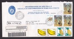 Brazil: Registered Airmail Cover To Netherlands, 1998, 8 Stamps, Old Painting, Art, Fruit, Bananas, Pineapple (damaged) - Brazilië