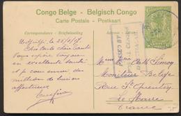 """EP Du Congo Au Type 5ctm Vert """"Palmier"""" Manuscrit Udjidji 25/5/17 + Censure 3lignes DARESSALAM Vers Le Havre. TB - Ganzsachen"""