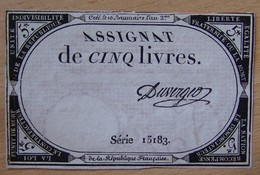 Assignat - 5 Livres FRANCE 1793 Série 15183 DUVERGER - Assignats & Mandats Territoriaux