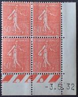 R1189/379 - 1932 - TYPE SEMEUSE LIGNEE - N°199 (IIA) TIMBRES NEUFS** CdF Daté - 1930-1939