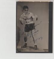 .BOXING.BOKSEN. PHOTO. CPA   BOXEUR  E. FERRARO   TEAM J.BRETONNEL  SIGNEE. AUTOGRAPHE 1944 - Boxing