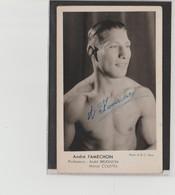 .BOXING.BOKSEN. PHOTO. CPA.  BOXEUR  A.FAMECHON   MANAG.  BRUGNON- COLETTA  SIGNEE. AUTOGRAPHE - Boxing