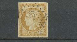 France Classique N°1 10c Bistre-jaune TB Signé Calves + CAD Américain X3837 - 1849-1850 Cérès
