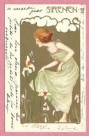 """Carte Signée """" Carl JOZSA """" - Femme Art Nouveau - SIRENEN IV - Künstlerkarten"""
