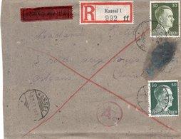LAC 1943 - Recommandé Et Cachet KASSEL Sur Timbres Hitler YT 718 & 720 - Griffe Censure Ae - Germany