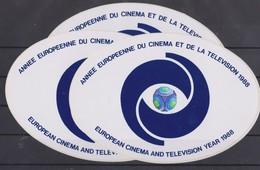 Autocollant, 3x Année Européenne Du Cinéma Et De La Télévision 1988. - Stickers