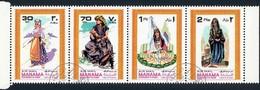 "MANAMA-AJMAN - 4 FRANCOBOLLI POSTA AEREA ""COSTUMI NAZIONALI"" 1968 - CATALOGO MICHEL NUMERO: 69 / 71 / 73 / 75 USATI ʘ - Manama"