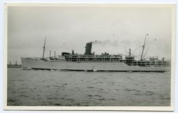 POSTCARD SIZE PHOTO : HARBOUR SCENE - LINER - Boats