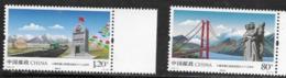 CHINA , 2019, MNH, SICHUAN-TIBET HIGHWAY, MOUNTAINS, BRIDGES, CARS, VEHICLES,2v - Geología