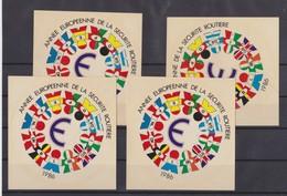 Autocollant, 4x Année Européenne De La Sécurité Routière 1986... - Stickers