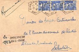 Recommandé Provisoire Ohnenheim Bas - Rhin + Cachet Hexagonal Perlé 16.6.1947 - Marcophilie (Lettres)