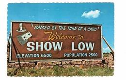 SHOW LOW, Arizona, USA, Welcome To Show Low Town Sign, Old 4X6 Chrome Postcard - Etats-Unis