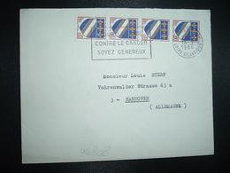 LETTRE TP BLASON TROYES 0,10 Bande De 4 OBL.MEC.18-3 1966 NANTES GARE LOIRE-ATLANTIQUE (44) - 1941-66 Wapenschilden