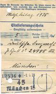Reçu De 5 Mark 1938 (Einlieferungschein) - Allemagne