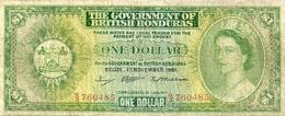BRITSH  HONDURAS $1 GREEN WOMAN QEII FRONT & MOTIF BACK DATED 01-11-1961 F P28a READ DESCRIPTION!! - Billetes